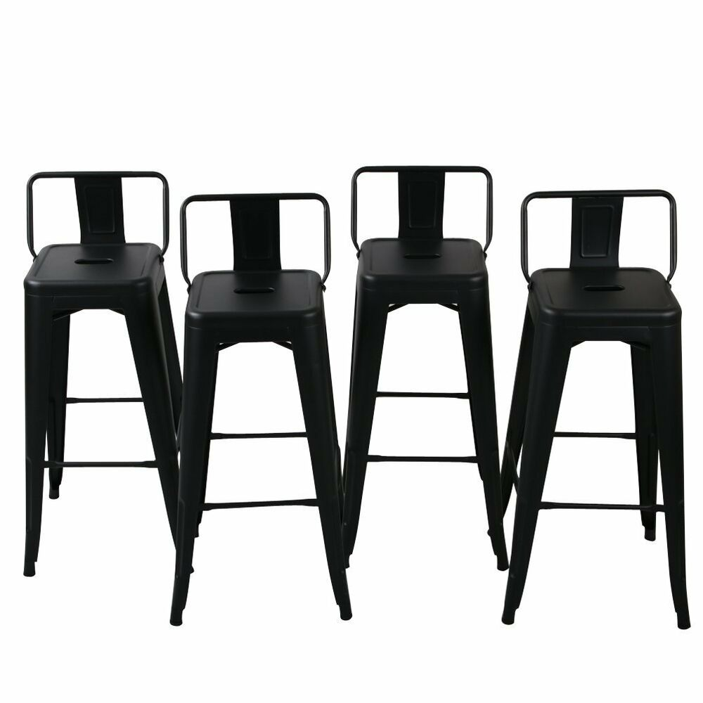 Counter Height Outdoor Stools : NEW Low Back Indoor / Outdoor Chair Stool Counter Height Stools Black ...