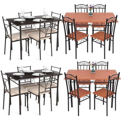 5 piece dining set wood metal frame table and 4 chairs for 4 piece kitchen table set