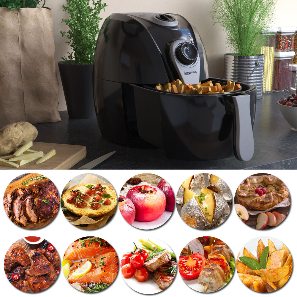 bergstroem fritteuse heissluft friteuse ofen frit se hei luft fryer 8in1 grill ebay. Black Bedroom Furniture Sets. Home Design Ideas