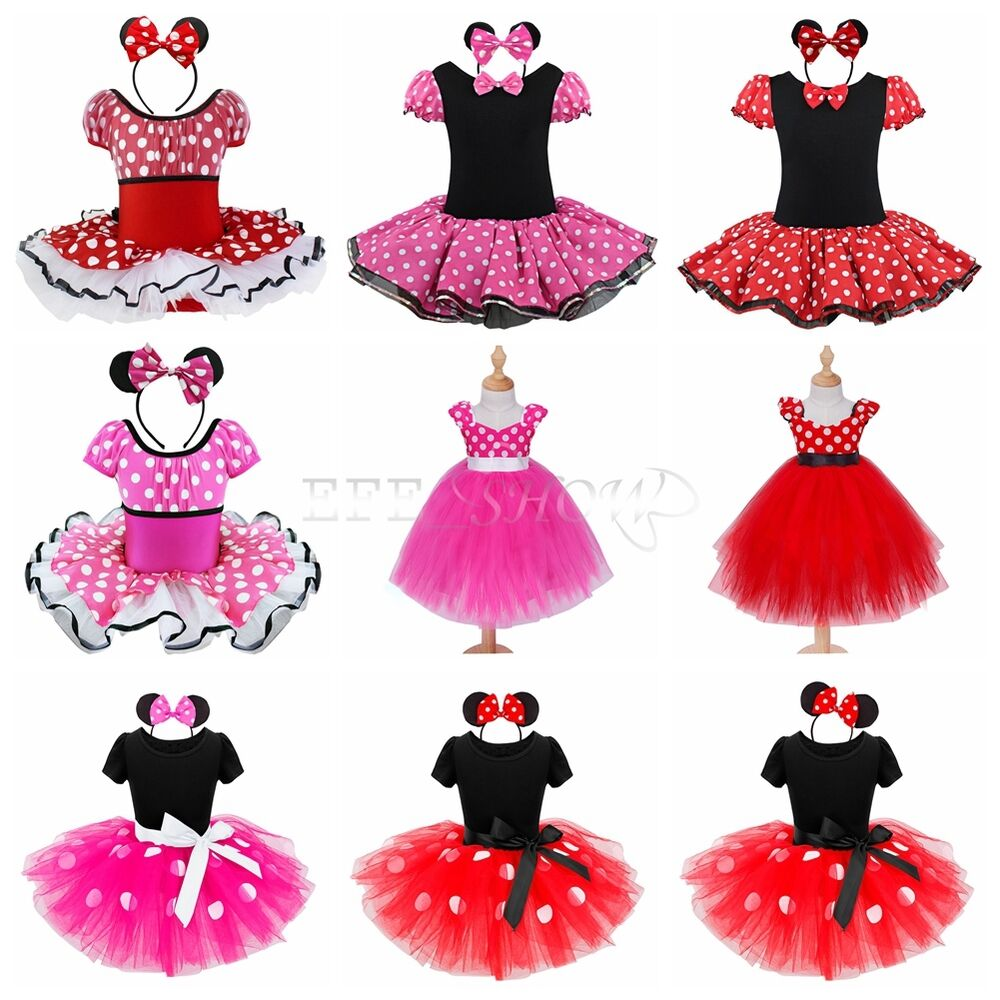 baby kinder m dchen kleid minnie mouse kost m fasching cosplay karneval kost m ebay. Black Bedroom Furniture Sets. Home Design Ideas
