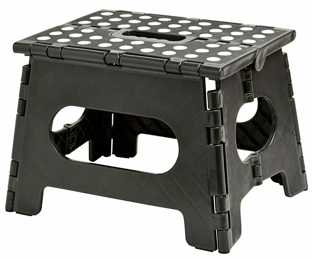 folding step stool 11 wide the lightweight step stool is sturdy enough to 689848308426 ebay. Black Bedroom Furniture Sets. Home Design Ideas