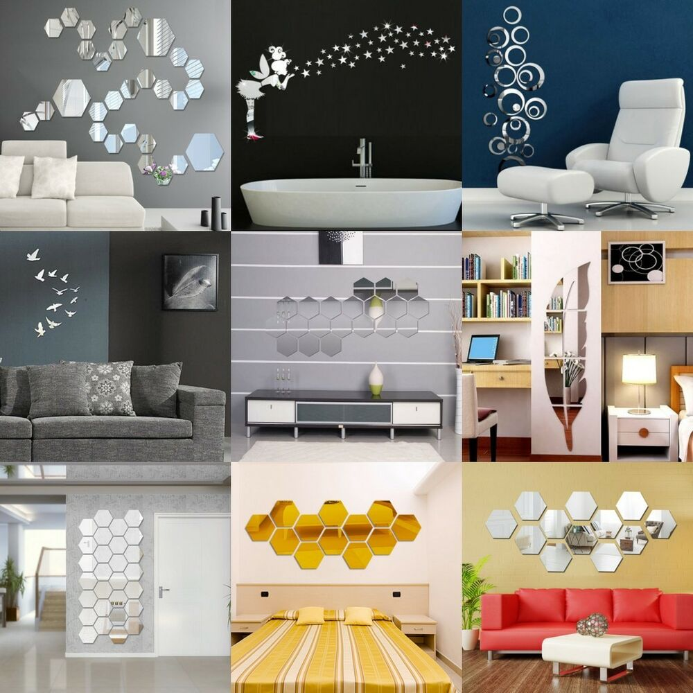 Removable mirror decal art mural wall stickers home decor diy room decoration 3d ebay - Wall sticker decoration art ...
