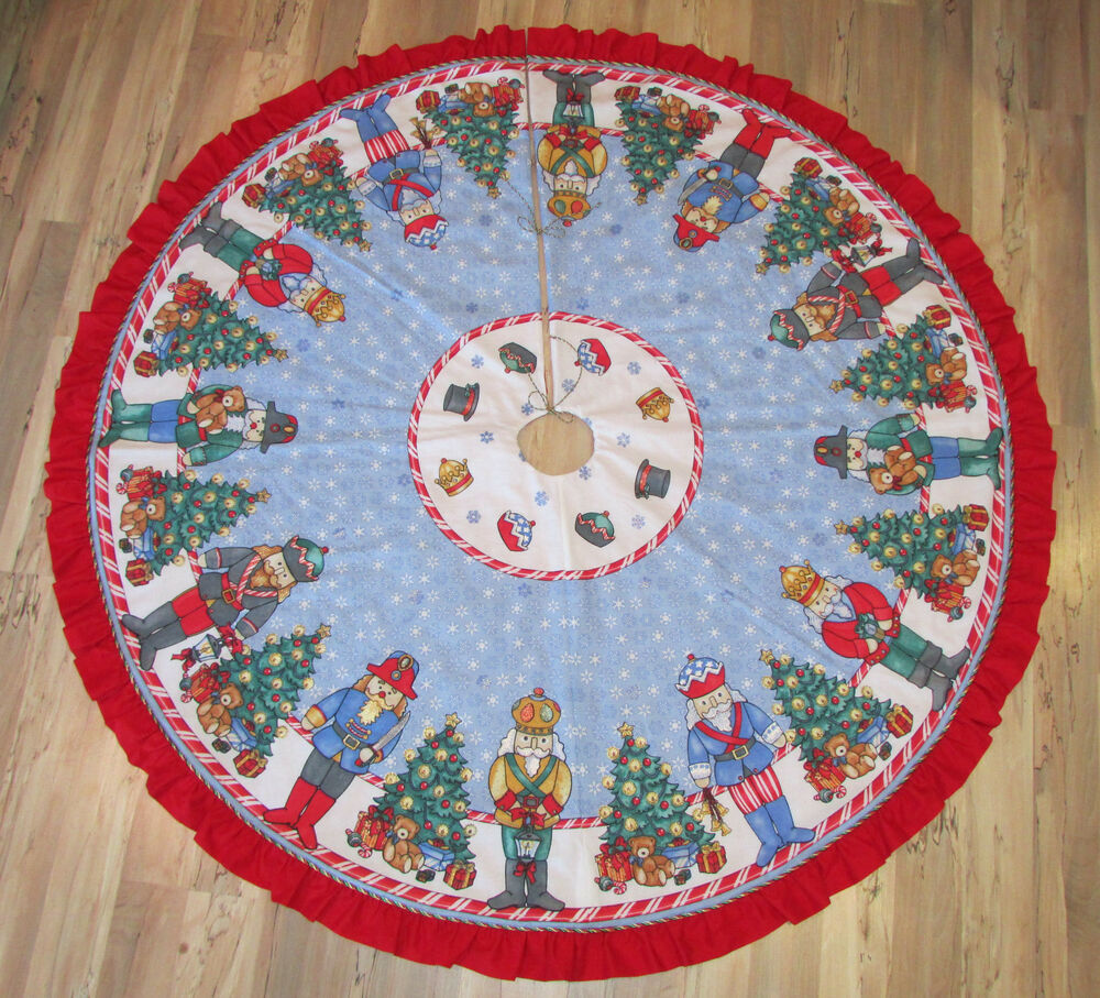 Nutcracker solider handmade fabric christmas tree skirt