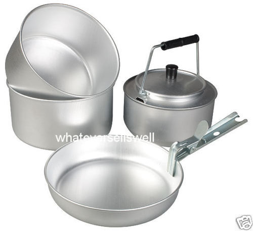 Cooking With A Kettle ~ Camping pots pan set cooking frying kettle nesting cook