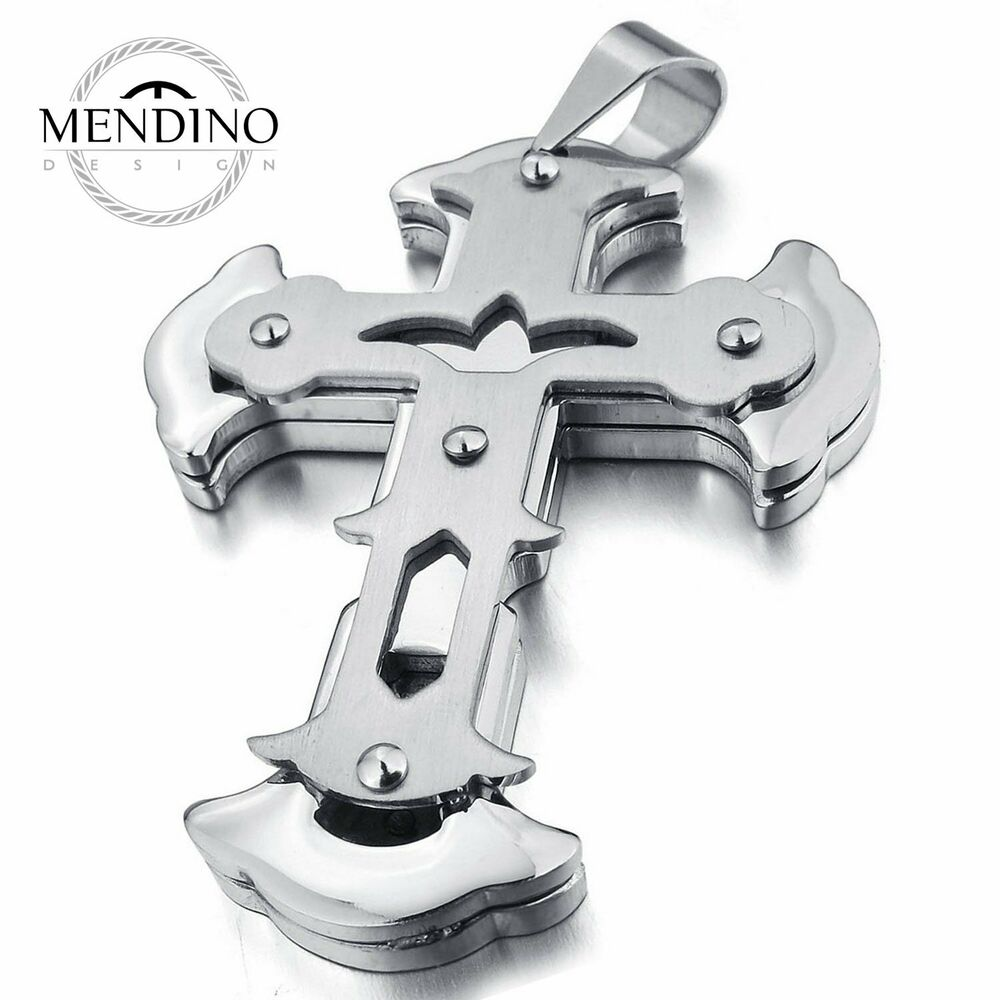 mendino men 39 s large heavy stainless steel pendant necklace. Black Bedroom Furniture Sets. Home Design Ideas