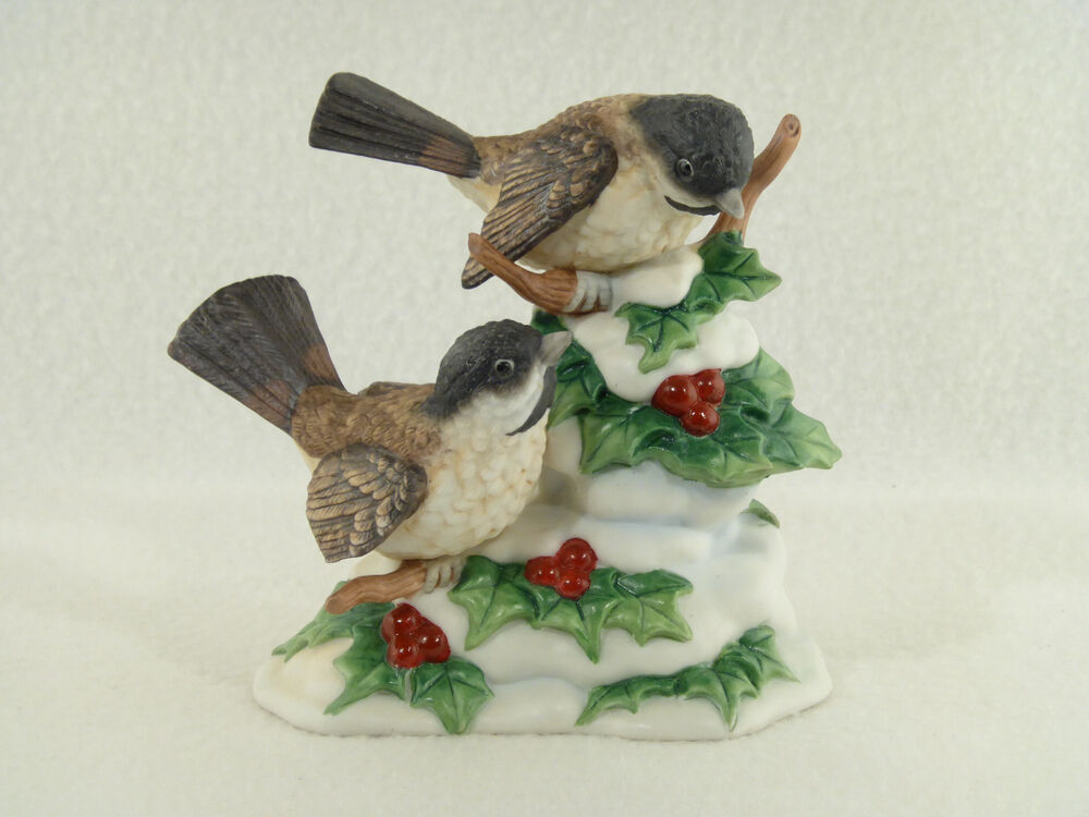 Home interiors winter 39 s chickadees bird figurine ebay Eba home interior figurines