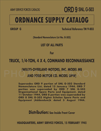 Military Jeep Parts Book Ford Gpw Willys Mb 1941 1945 Ordsnlg503 Master Catalog Ebay