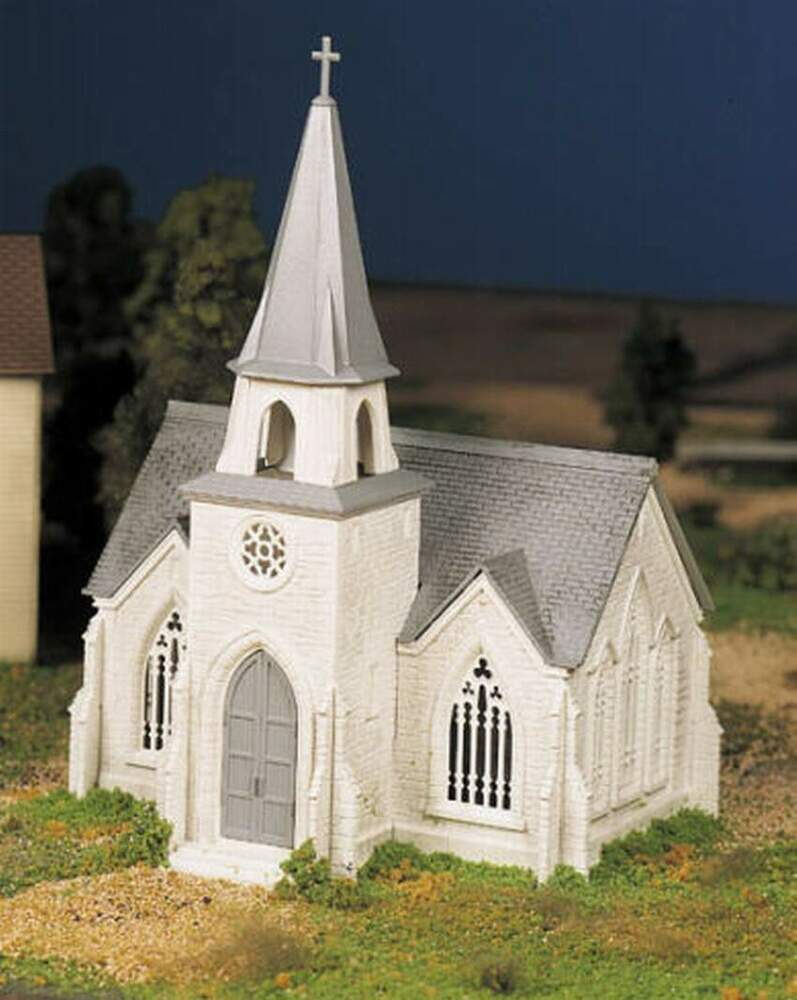 Accessories O Gauge Buildings : Bachmann plasticville cathedral o gauge building kit ebay