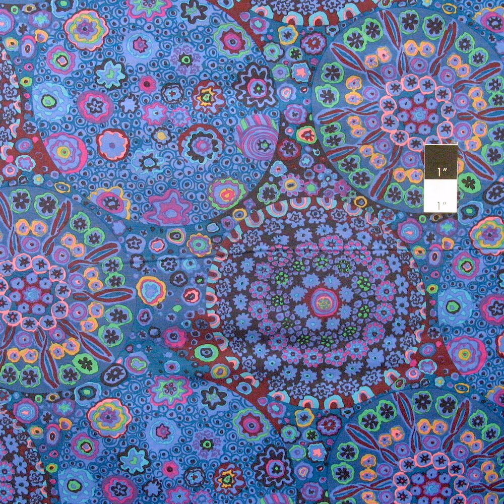 Kaffe fassett gp92 millefiore blue cotton fabric by the for Purchase fabric by the yard