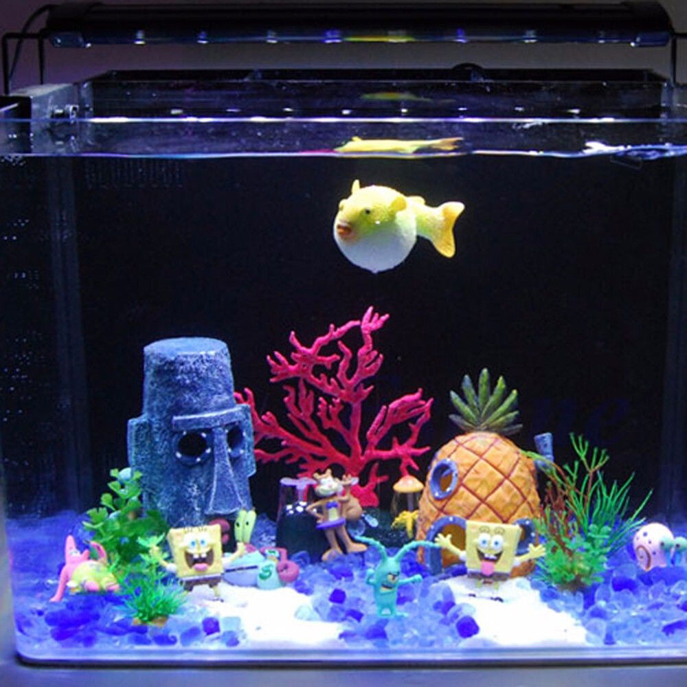 hot aquarium landscaping decoration spongebob house aquatic fish tank ornamenthu ebay. Black Bedroom Furniture Sets. Home Design Ideas