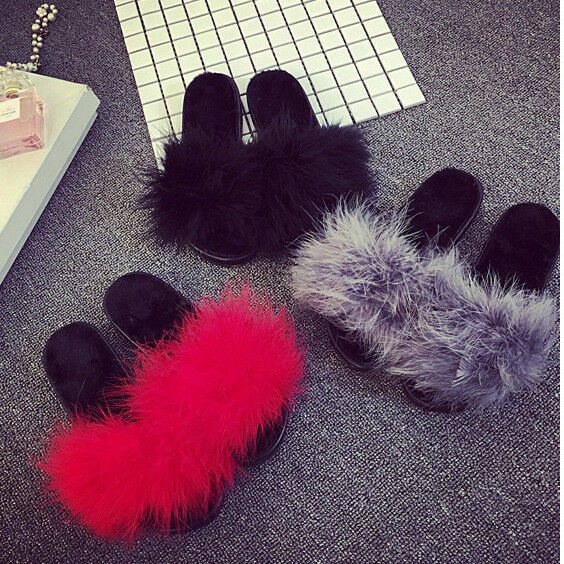Women S Fur Fluffy Slippers Slides Mules Sandals Feather