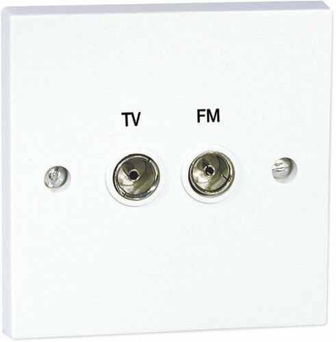 White Twin Coax Female Tv Aerial Face Wall Plate 2 X