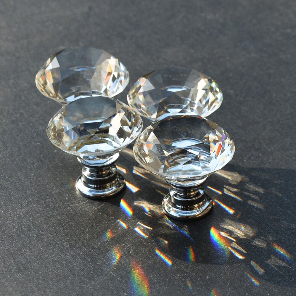 10 knob alloy clear glass crystal sparkle cabinet drawer door pulls knobs handle ebay. Black Bedroom Furniture Sets. Home Design Ideas