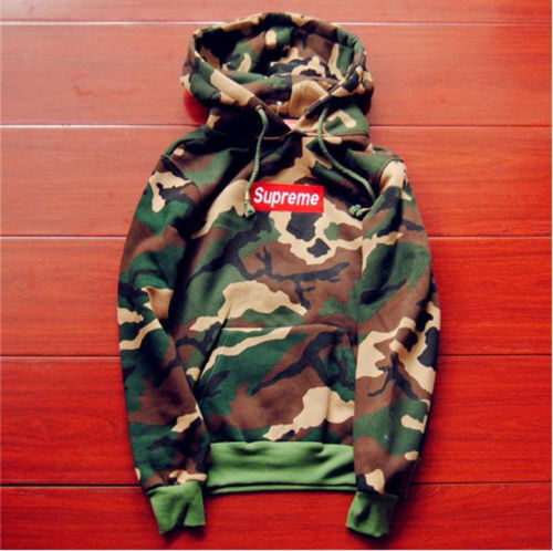 camouflage supreme Men's hoodie embroidered cotton sweater ...