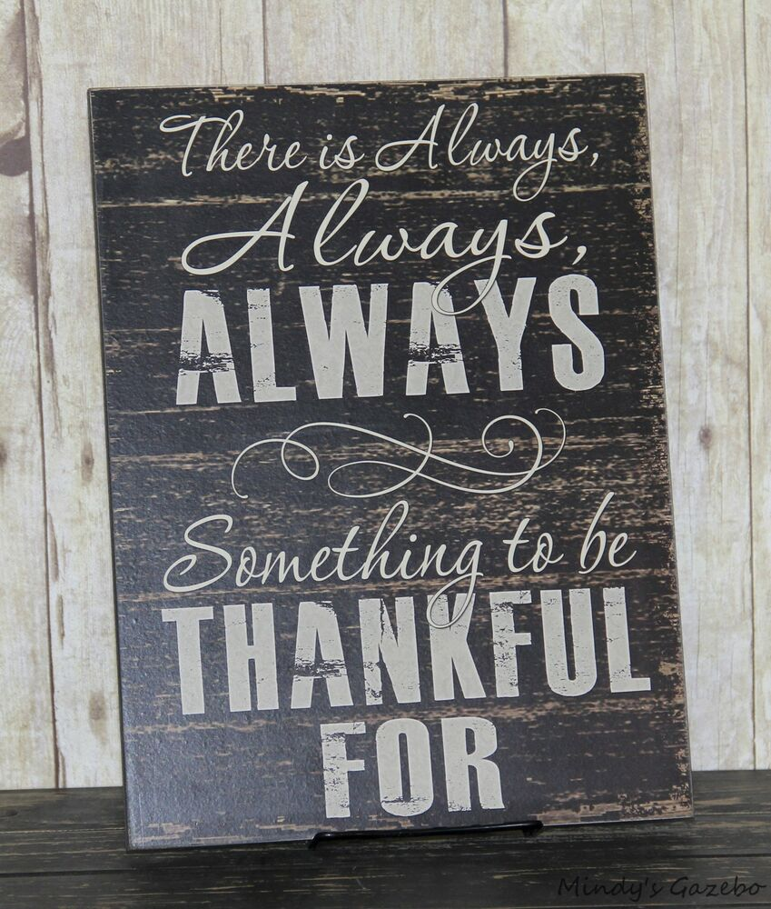 RUSTIC COUNTRY BLACK WOOD THANKFUL SIGN HANDMADE