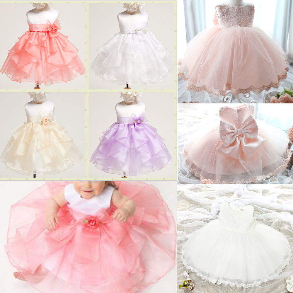 Infant girl princess dress baby bow wedding xmas party for Infant dresses for weddings