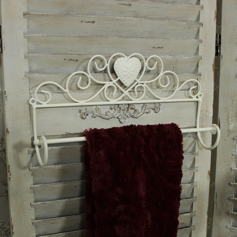 ivory metal distressed towel rail bathroom shabby vintage chic gift home 5055630933636 ebay. Black Bedroom Furniture Sets. Home Design Ideas