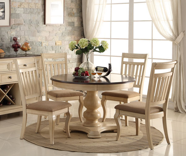 White Wood Dining Set: ROWAN 5PC ANTIQUE WHITE WASH CHERRY FINISH WOOD ROUND