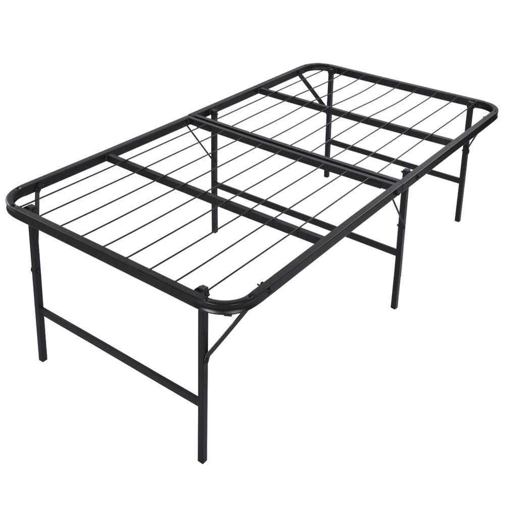 Foldable platform bed frame and mattress foundation 17 for Twin mattress and frame