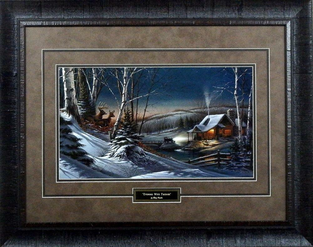 Terry Redlin Evening With Friends Town Deer Print Framed