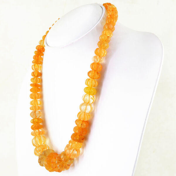603.50 CTS NATURAL UNTREATED RICH YELLOW CITRINE ROUND CARVED BEADS NECKLACE