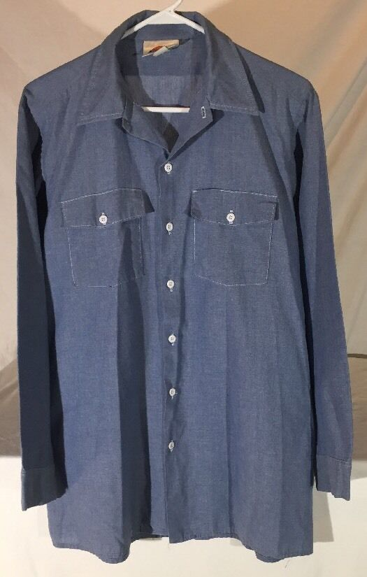 Vintage dickies chambray long sleeve button down work for Usa made work shirts