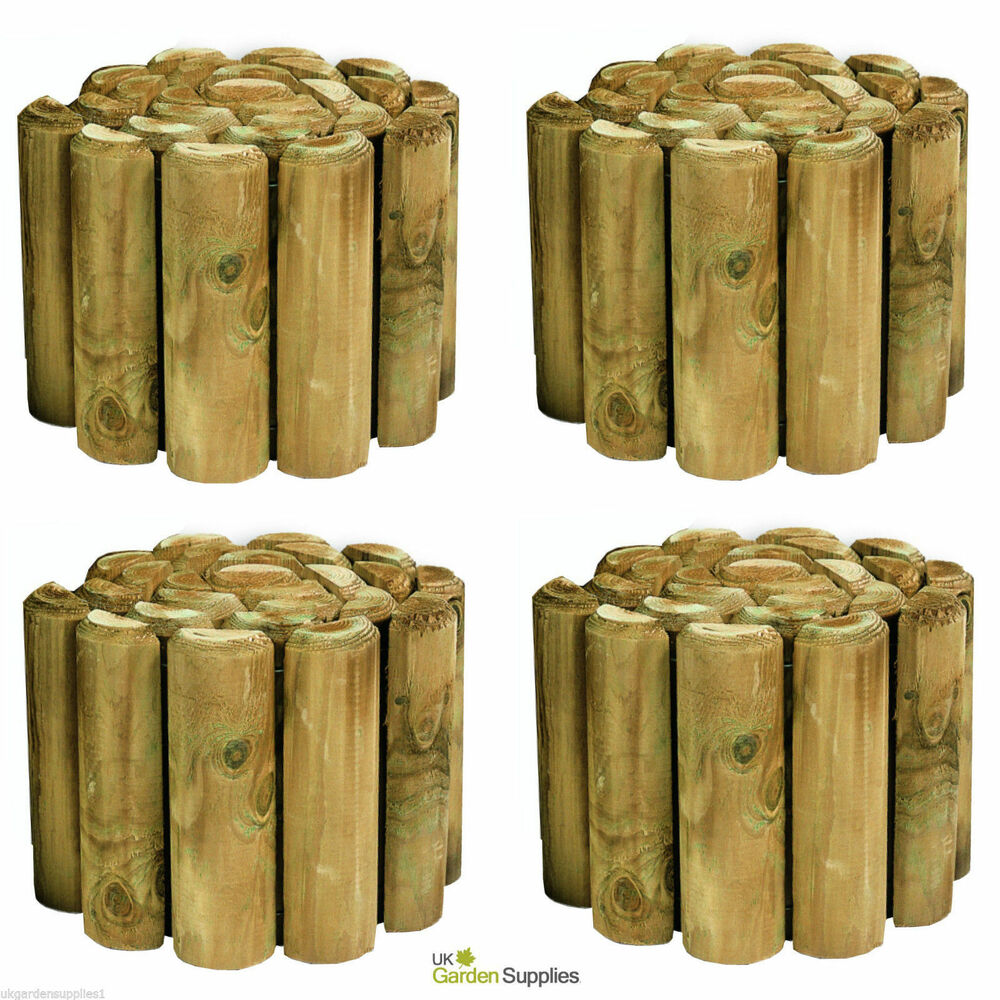 Pack of 4 - 270mm High Log Rolls - Lawn Edging - Wooden ...