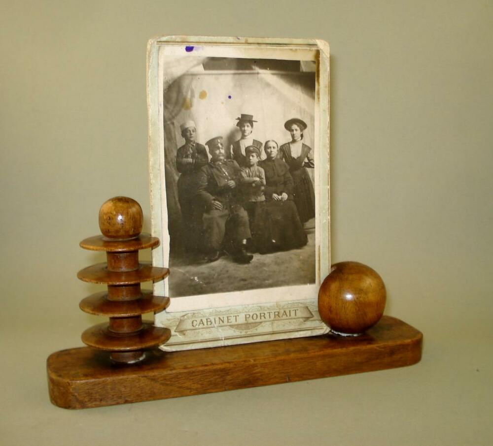 Antique Old Wooden Photo Frame Desk Stand With Old Family
