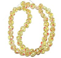 G3081f Light Olive Green w Red White Flowers 8mm Heart Millefiori Glass Bead 15""
