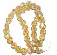 G3036 Light Olive Green w Red White Flowers Millefiori 10mm Heart Glass Bead 15""