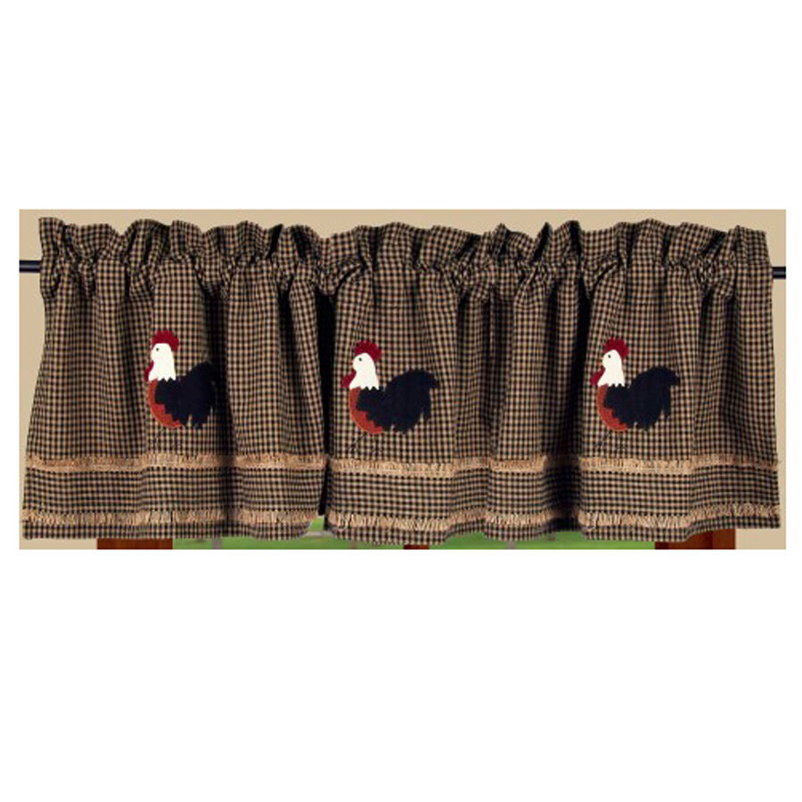 New Primitive Country Black Checked Applique Rooster