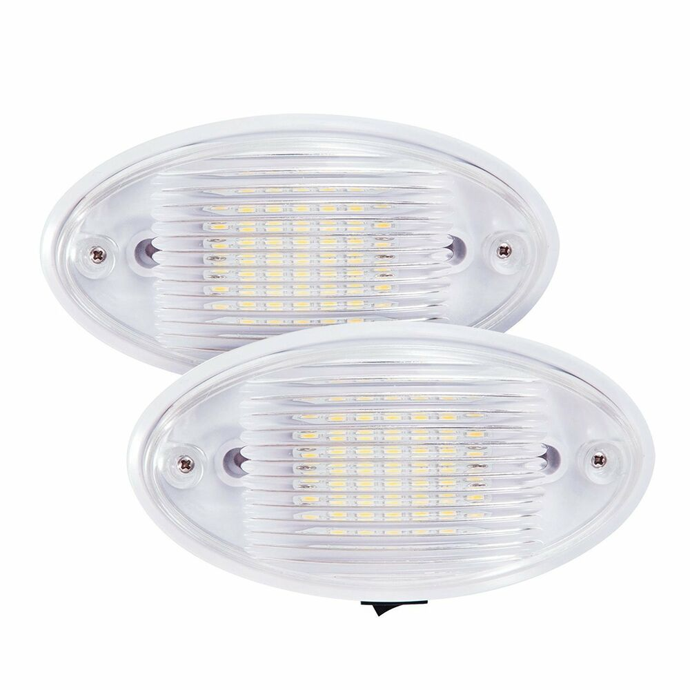 2 pack led ceiling porch light fixture 12v rv interior and exterior lighting ebay. Black Bedroom Furniture Sets. Home Design Ideas