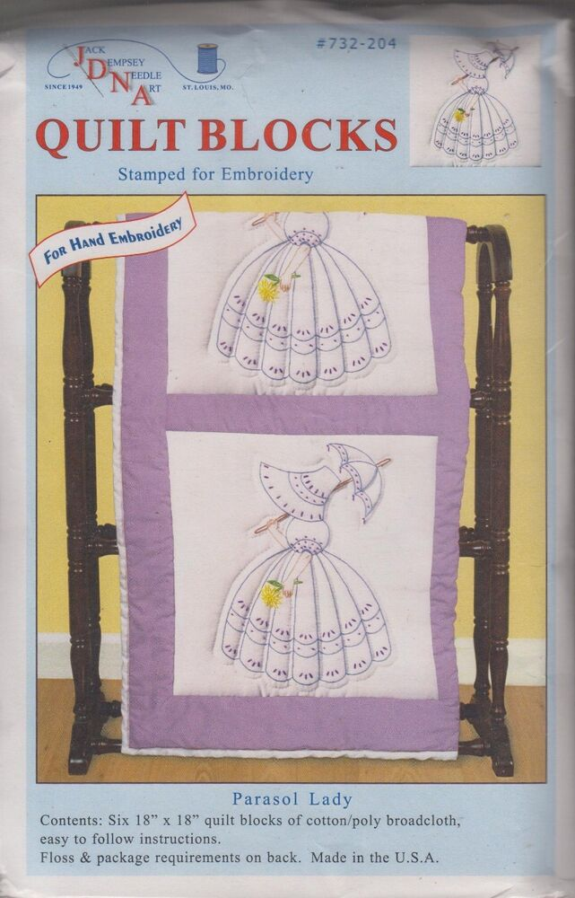 1 Pk Jack Dempsey Quot Parasol Lady Quot Stamped Embroidery Quilt