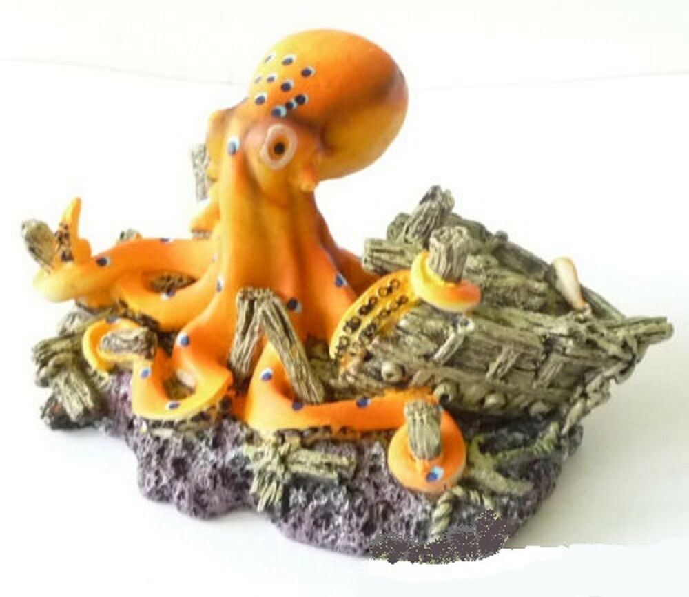 Orange octopus fish tank ornament ornate aquarium new for Octopus fish tank