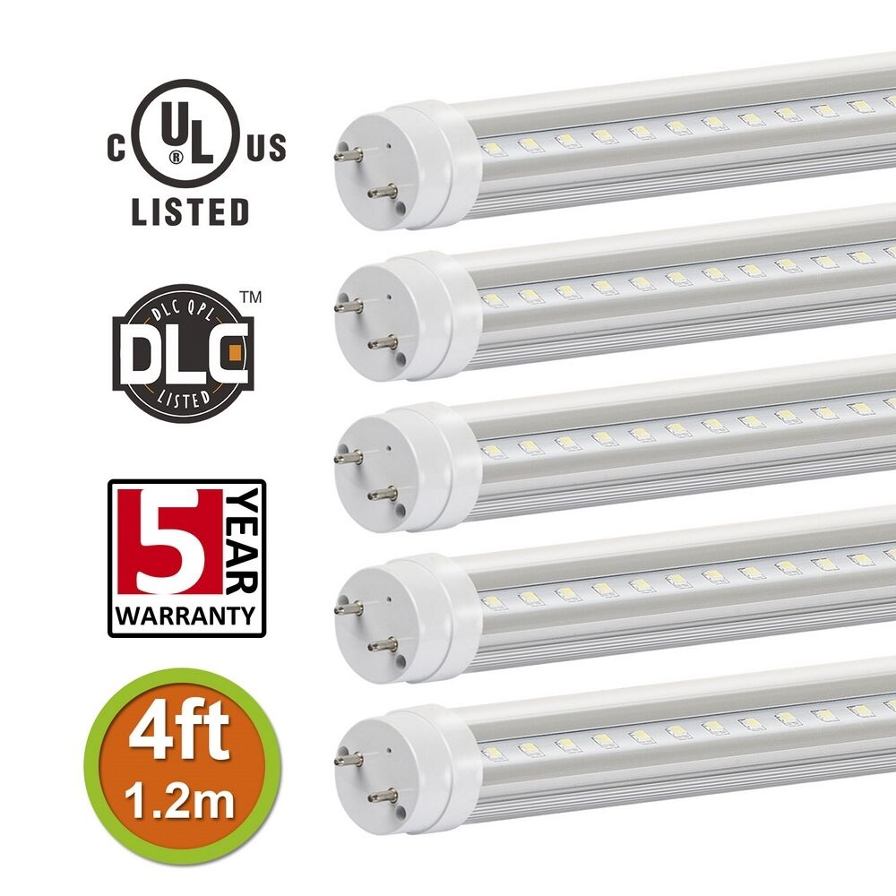 5x t8 4ft 18w led tube light 6000k 4000k replaces 32 48w fluorescent clear co. Black Bedroom Furniture Sets. Home Design Ideas