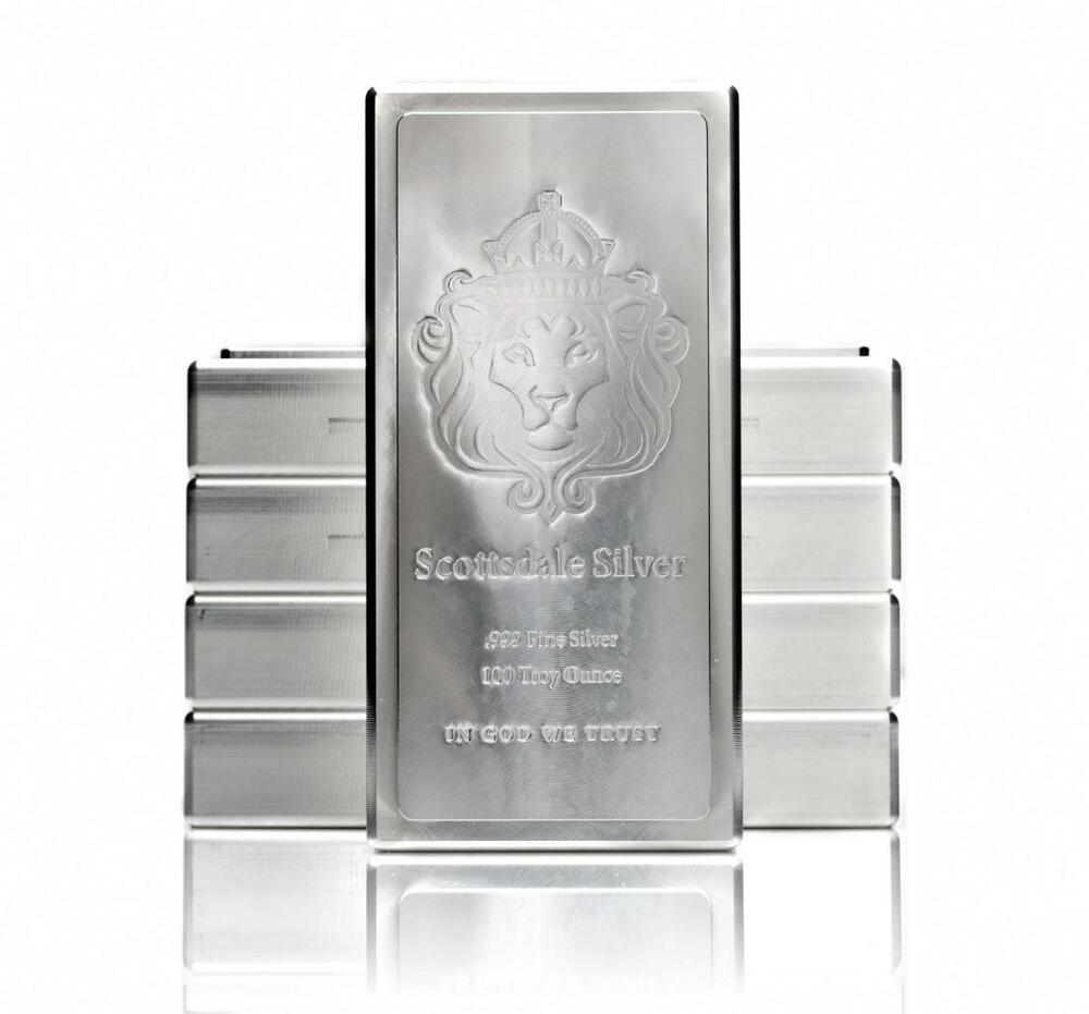 100 Oz Scottsdale Stacker Silver Bar 999 Silver Bullion