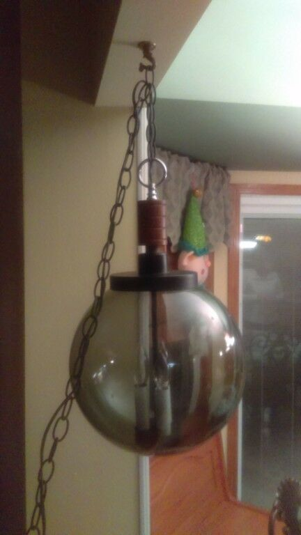 vintage mid century modern hanging swag lamp with smoked glass globe ebay. Black Bedroom Furniture Sets. Home Design Ideas