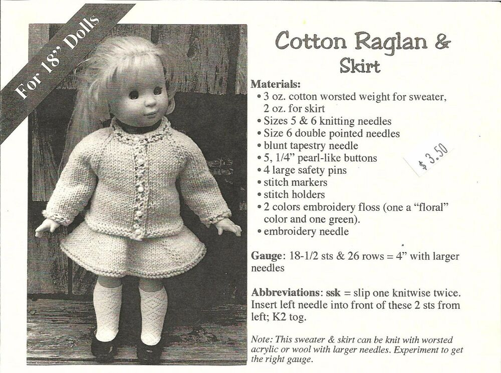 Raglan Sweater & Skirt Knitting Pattern for 18\