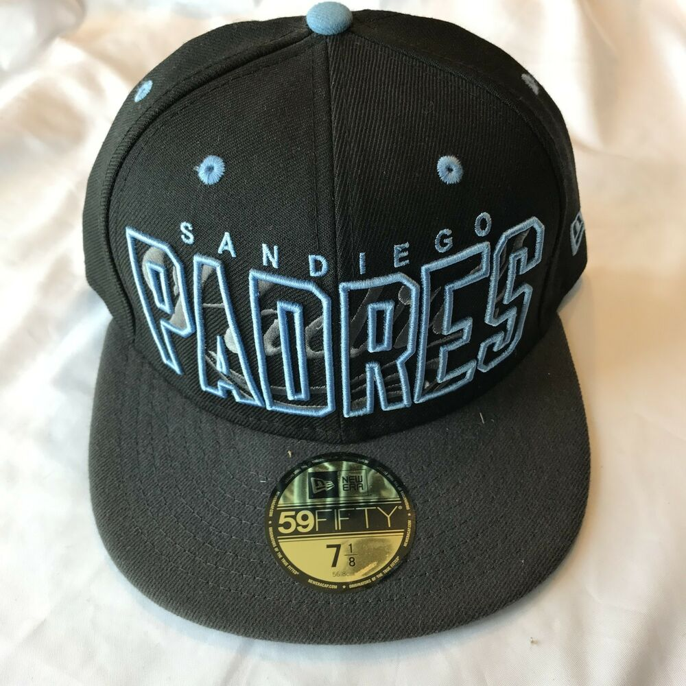 cd5a268ab1f78c Details about Team California San Diego Padres MLB New Era 59Fifty Black Cap  Size 7 1/8 NWT