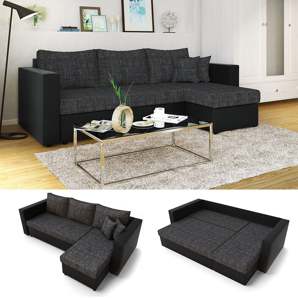 ecksofa mit schlaffunktion schwarz grau couch schlafsofa bett polsterecke ebay. Black Bedroom Furniture Sets. Home Design Ideas
