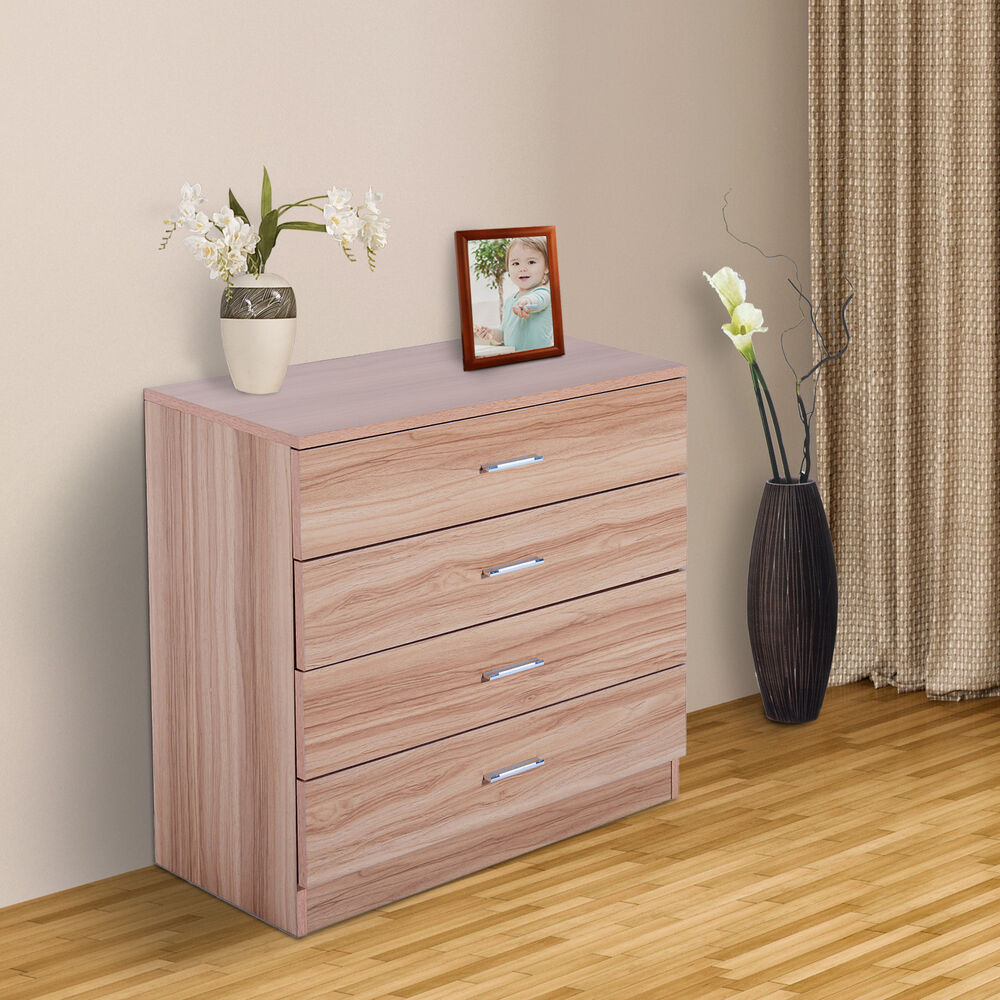 mehrzweck kommode sideboard diele anrichte flur schrank 4 schubladen holz natur ebay. Black Bedroom Furniture Sets. Home Design Ideas