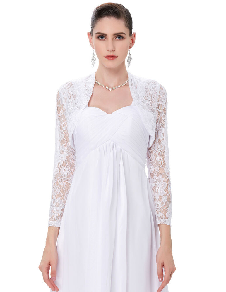 Women 39 long sleeve lace wedding jacket bolero bridal dress for Wedding dress lace bolero