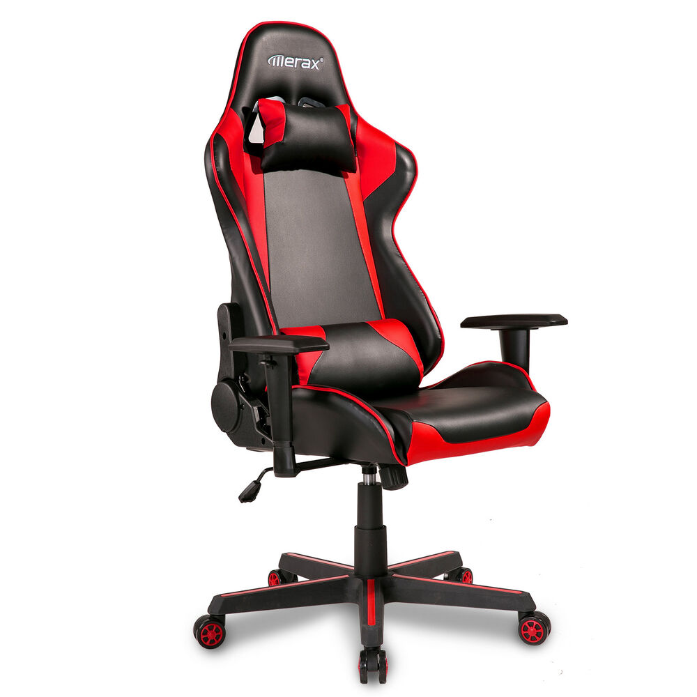 black leather recliner gaming chair merax high back racing gaming chair pu leather executive 11227 | s l1000