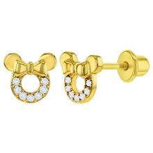 18k Gold Plated Clear CZ Mouse Bow Safety Screw Back Kids Earrings Girls