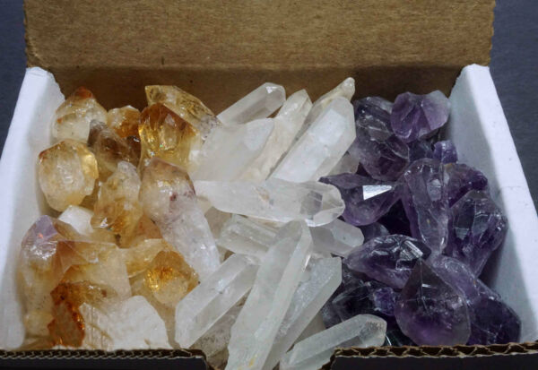3 Crystal Collection 1/2 Lb Lots Natural Points Amethyst Citrine & Clear Quartz