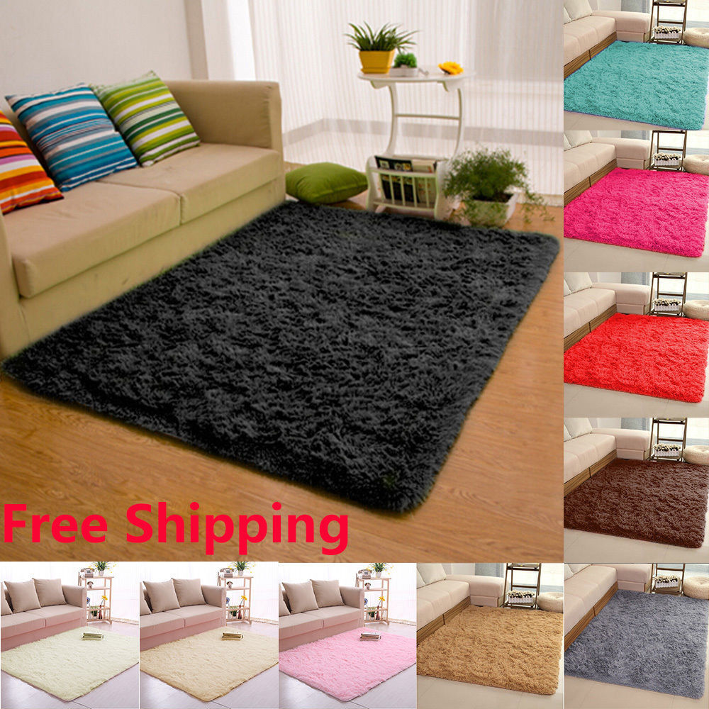 Fluffy Anti Skid Shaggy Area Rug Dining Room Carpet Floor