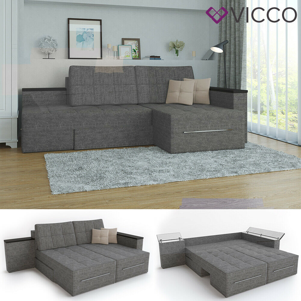 ecksofa mit schlaffunktion 240 x 160 cm grau eckcouch sofa couch schlafsofa ebay. Black Bedroom Furniture Sets. Home Design Ideas