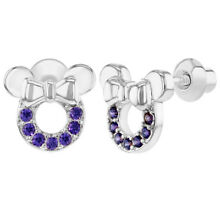 Rhodium Plated Purple Little Mouse Screw Backs Safety Baby Kids Earrings