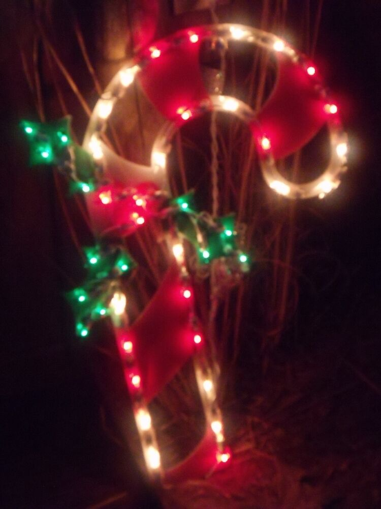 Christmas outdoor lighted candy cane holly berry sign for Outdoor lighted decorations
