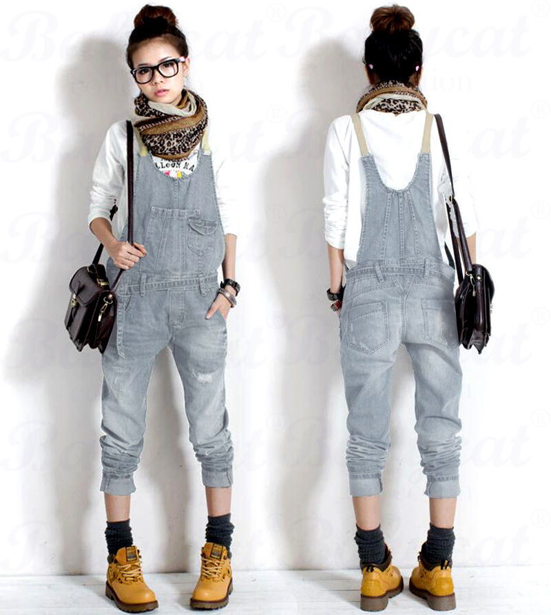 damen casual jeans cowboy overalls latzhose denim jumpsuits pants cargo hose h49 ebay. Black Bedroom Furniture Sets. Home Design Ideas